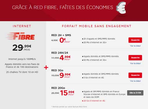 forfait internet et mobile red
